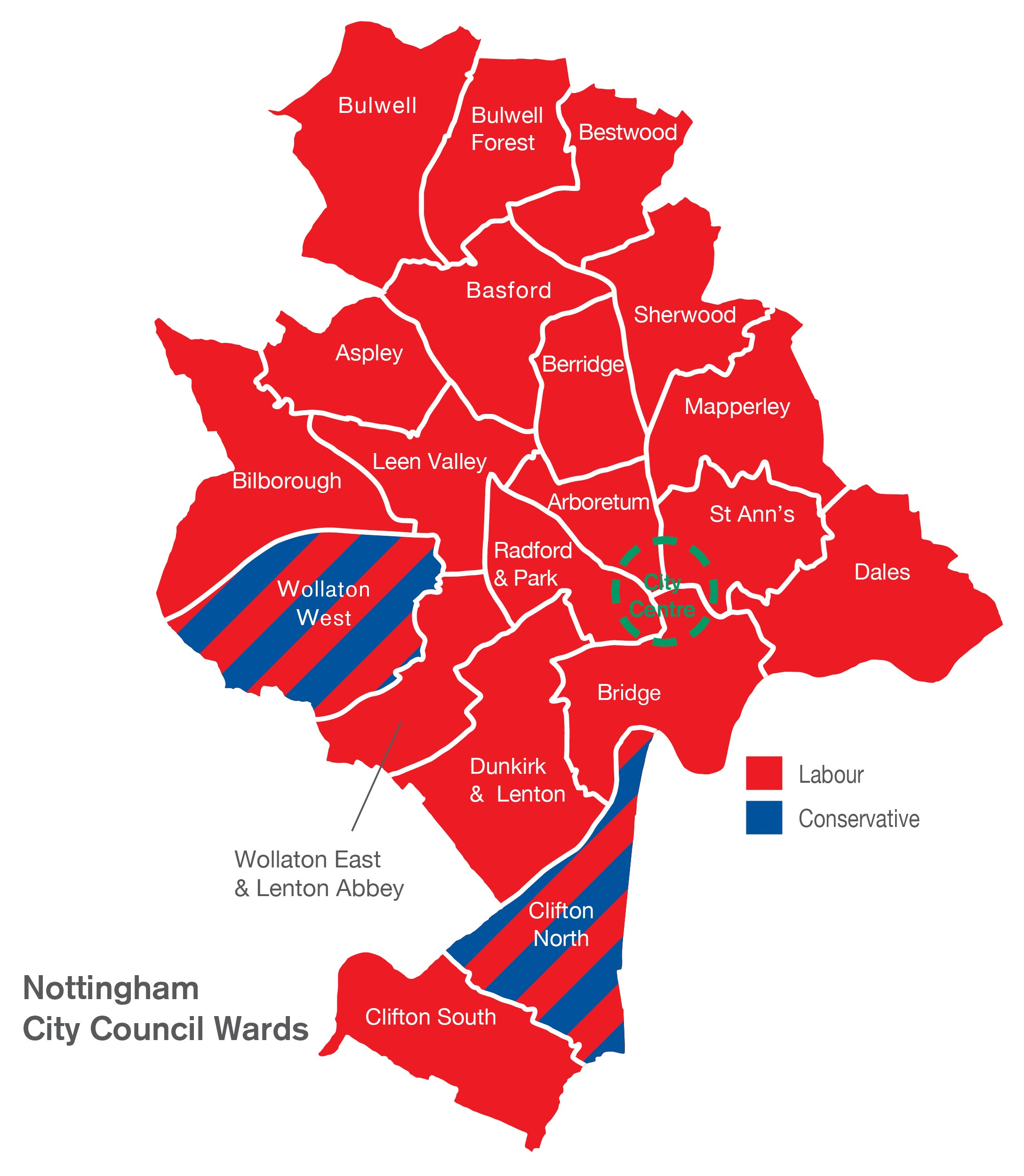 Council ward map and parties
