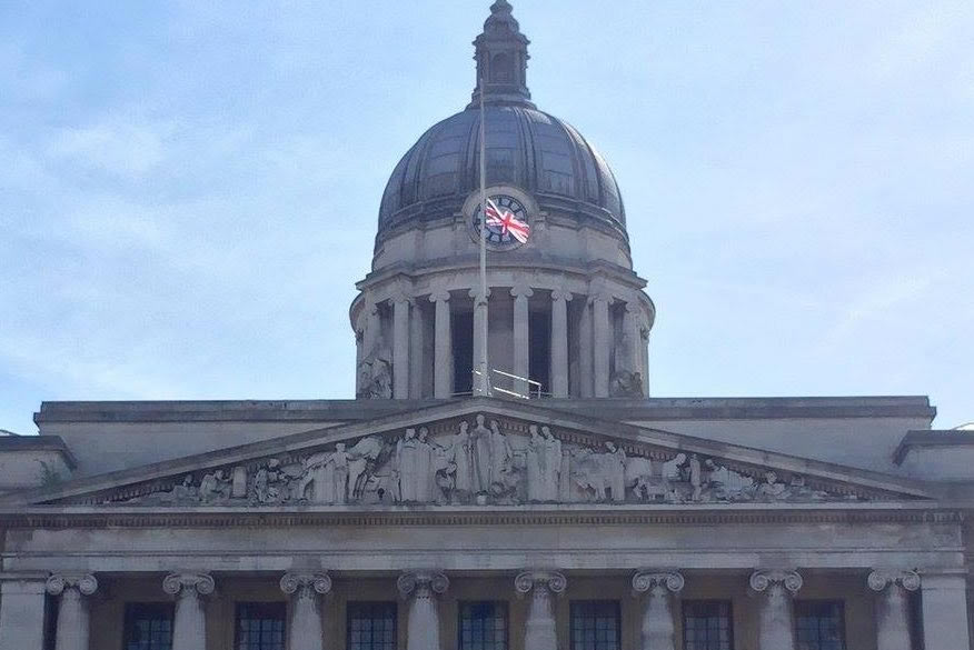 Council House with Union flag at half-mast